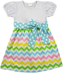 Girls Boutique Chevron Dress  with Sash ( Sizes 2t-7/8)