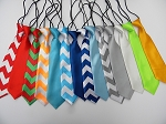 Boys Ties- Solid & Chevron Patterns