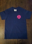 Youth Short Sleeve Vinyl Monogrammed TShirt (Front monogram)
