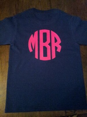 Ladies Short Sleeve Vinyl Monogrammed TShirt (one sided)