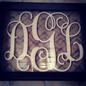 18 inch Tall 3 Letter Wooden Monogram (Birch Wood)